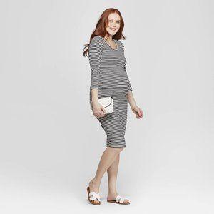 Maternity Striped Bodycon Midi Dress XL